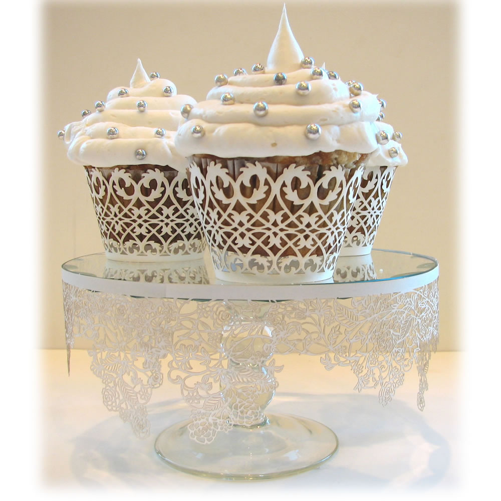 White Filigree Cupcake Wrapper | Fancy Flours: Where Bakers Bloom