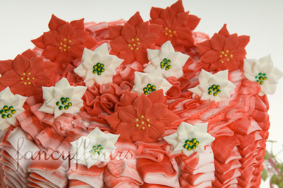 poinsettia cake close up