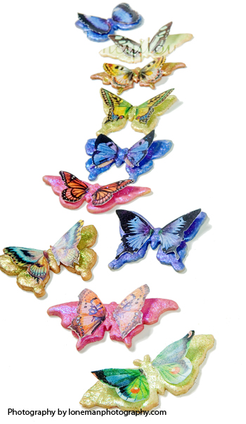 butterfly cookies with disco dust