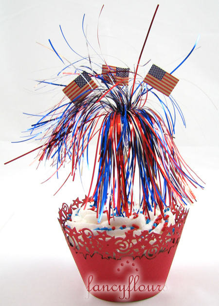 red stars cupcake wrapper