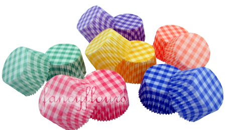 gingham muffin cups