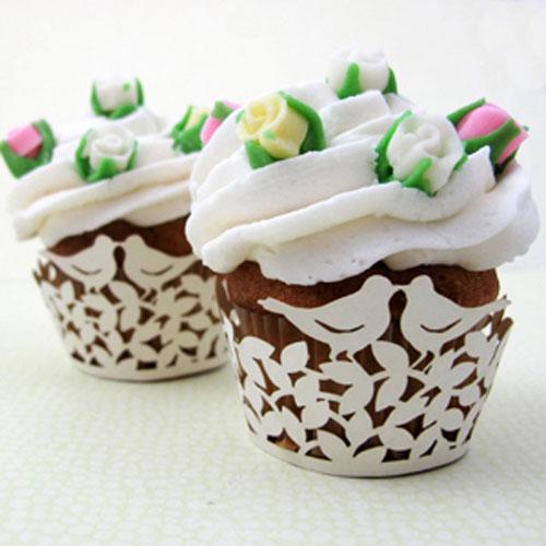 Rose Bird Cupcakes