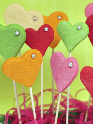 Colored Heart Cookie Pops Recipe