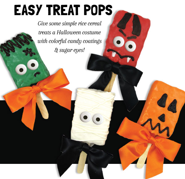 todays halloween treats are easy halloween rice krispie treat pops what better way to celebrate halloween than with delicious rice krispie treats