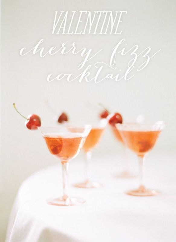 valentine cherry fizz cocktail