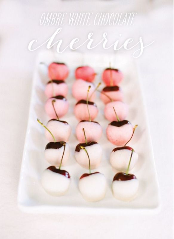 ombre white chocolate cherries
