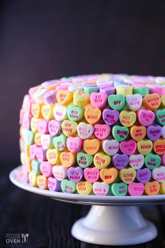 Strawberries & Cream Conversation Heart Cake