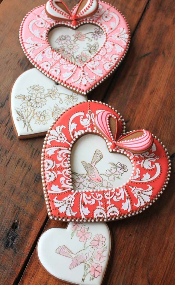 Rubber-Stamp Heart Cookies